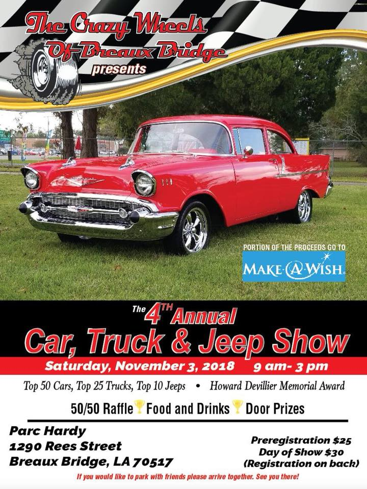 4th Annual The Crazy Wheels of Breaux Bridge Car, Truck and