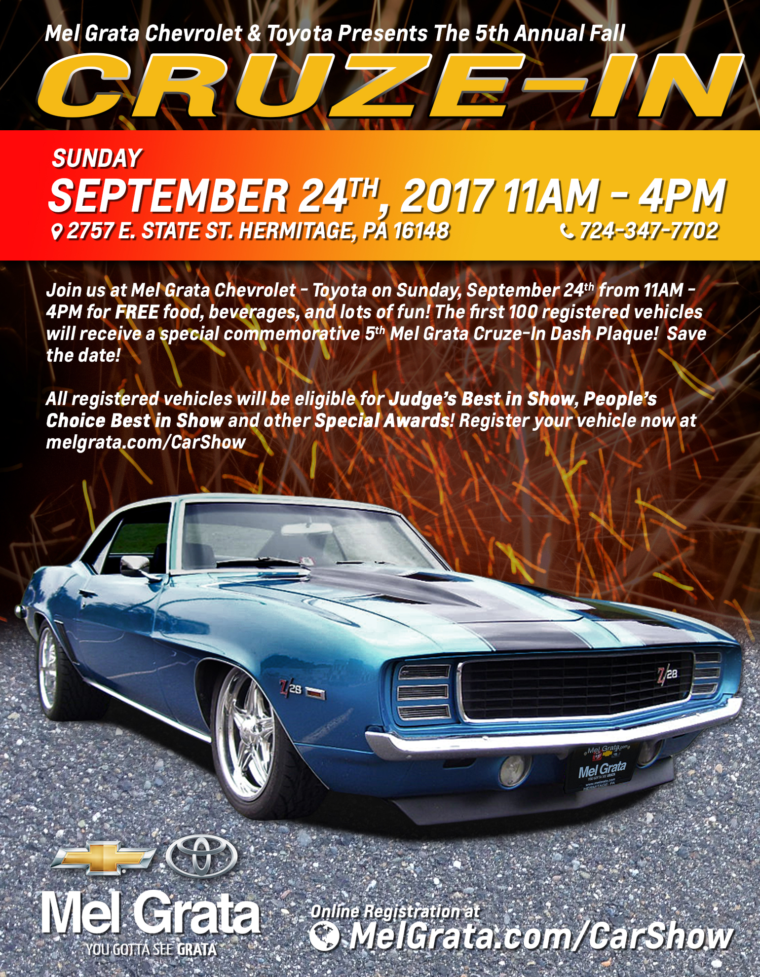 Mel Grata Toyota >> 5th Annual Fall Cruze In At Mel Grata Chevrolet Toyota Car Show